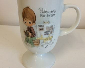 Vintage 1978 Enesco Precious Moments footed Coffee Cup  Peace Amid the Storm