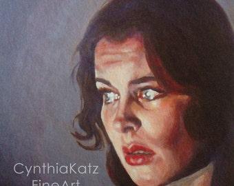 Art Print Reproduction // What are you Afraid of? // Original Acrylic Painting // Movie Art // Vivian Leigh // 16 cm x 16 cm // Cynthia Katz