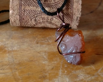Rare Brown seaglass Necklace