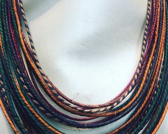 Multi Strand leather Necklace handworked in Africa