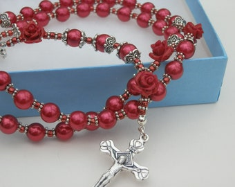 Heavenly sacred Heart Rosary beads Catholic Rosary beads, Sacred Heart Of Jesus, Red Rose Pater beads, Ideal baptism, Wedding gift