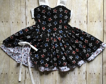 4th of July Dress - Patriotic Dress - Peek a Boo Dress - Toddler Dress - Little Girls Dress - Poppy Dress - Pageant Dress - Party Dress