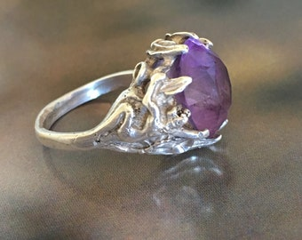 Art Nouveau Goddess  Ring  Sterling  Silver Leaf Vine Artisan Ring Vintage Amethyst  Glass SZ 7