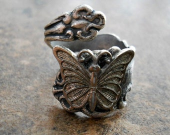 Butterfly Spoon Ring in Silver,  The ORIGINAL Exclusive Design Only by Enchanted Lockets