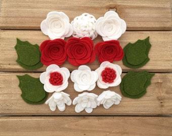 Handmade Wool Felt Flowers, Red, and White