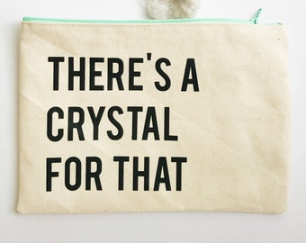 Large Crystal Canvas Zipper Pouch
