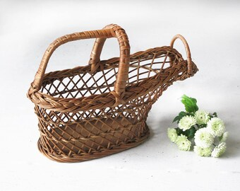 Refined French Wine Bottle Basket Holder, french wicker wire basket