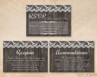 Printable Wedding Enclosure Cards - 3.5x5 - Wood and Lace - Vintage Rustic Nature Barn Elegant Cottage Woodland Forest Brown White