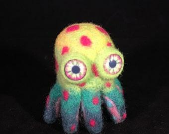 Handmade Mini Octopus Felted Posable Art Doll
