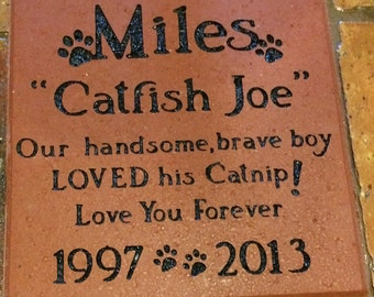 8x8 Brick for porch or garden - Custom Engraved Stone - Personalized design with name or quotes