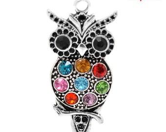 Rhinestone Owl Pendant - Clip-On - Ready to Wear