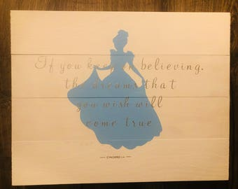 Custom Design, and Hand Painted Princess Cinderella and Quote Sign