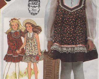 Girls Vintage Gunne Sax Ruffled Dress, Sleeveless or Long Sleeves, Childrens Size 5 Uncut Sewing Pattern 1980s