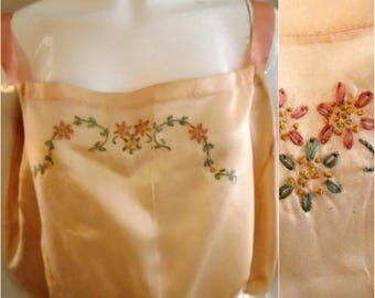 Vintage 1920s Pink Silk Camisole with Pastel Embroidery XL Flapper Lingerie