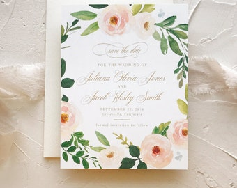 Photo Save the Date Floral, Rustic Save the Dates, Peach Blush Gold