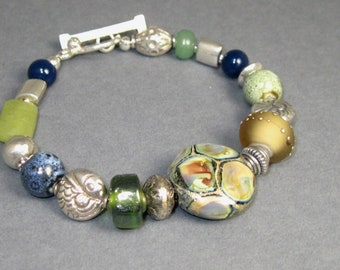 Multi Colored Toggle Bracelet, eclectic sterling and gemstone Sundance style beaded bracelet with toggle clasp, boho asymmetrical bracelet