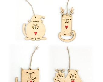 Cat Christmas Ornaments (Set of 4)