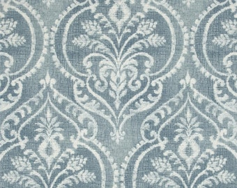 """Two 50"""" wide, pair, designer curtain panels, drapes Swavelle/Mill Creek Dalusio Damask chambray blue"""