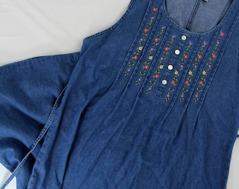 AS IS Basic Editions sz S pleated embroidered front long denim dress modest, no size tag