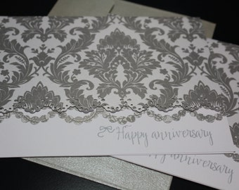 Silver fancy Anniversary Note Cards