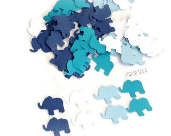 200 Mixed Blue & White small Elephant Cut outs, Confetti - Set of 200 pcs