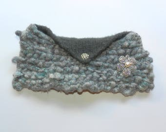 Hand Knit Silver and Grey Hand Knit Envelope Clutch - Sparkle and Shine