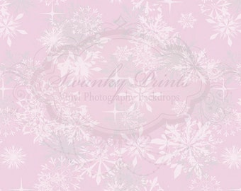 3ft x 5ft  Vinyl Photography Backdrop / Christmas / Holiday / Light Pink Snowflakes