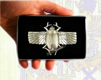 Metal Cigarette Case Silver Egyptian Scarab Inlaid in Hand Painted Glossy Black Enamel Steampunk Metal Wallet with Personalized Option