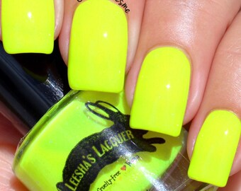 Neon Yellow Indie Nail Polish - Charisma, Uniqueness, Nerve & Talent - 5-Free, Cruelty Free and Vegan