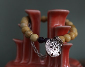 8mm Neutral toned Jasper bracelet with Amethyst and sterling sand dollar charm