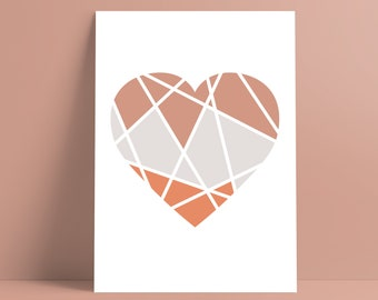 Heart Print || A5, A4, A3 Design || Geometric Art || Home Decor