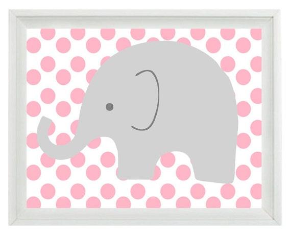 Elephant nursery wall art print pink gray decor polka dots for Pink and grey kids room