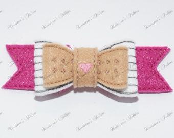 UNCUT 3D bow, Doc McStuffins embroidered felt embellishment feltie