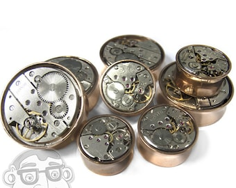 Steampunk Gear IP Rose Gold Stainless Steel Plugs (18mm - 30mm) - New!