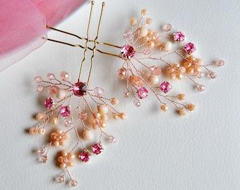 Bridal hair pin Rose Gold hair piece Babys breath hair piece Wedding hair brooch Blush Headpiece Wedding hair clip Bridal hair accessory