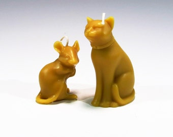 Beeswax Cat and Mouse Candles Handcrafted Candles Honey Scented Candles Eco Friendly Candles