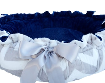 Large Dog Bed Gray and White Chevron Minky Print Minky Dog Bed With Navy Blue Dot Cuddle Minky