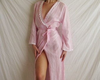 90s India Gauzy Cotton Robe S M