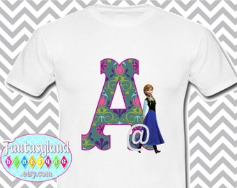 Monogram Iron On Applique, Anna Inspired, Printable Iron On, Tshirt Iron On, Frozen Inspired, Initial, Damask, Disney Vacation
