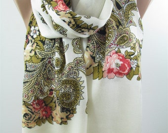 Floral Scarf Black Cream Scarf Shawl  Winter Scarf  Fashion Accessories    Gift   Holiday Gift Gift For Women Gift For Her Gift For Mom