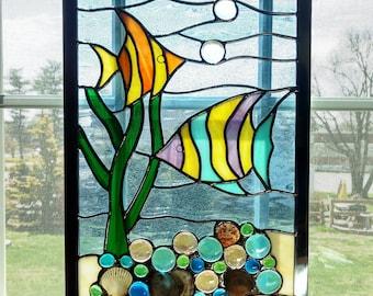 Fish Stained Glass Window Panel, Tropical Fish, Stained Glass Underwater Scene, Seascape, Stained Glass Beach, Beach Decor, Coastal Decor