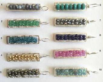 Gemstone Bar Pendant, Sterling Geometric Rectangle,  Multi Gemstone,Customizable, Geometric Layering Necklace, Vertical Bar, Pendant Only