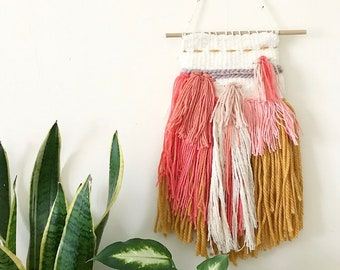 Coral, Pink, Mustard and Cream Textured Hand Woven Wall Hanging