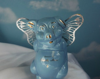 Flying Pig, When Pigs Fly, Upcycled Piggy Bank, Blue