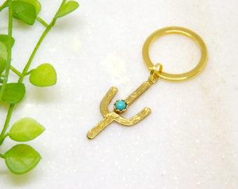 Cactus Key Chain, Cactus Key Chain, Cactus Charm Key Ring, Turquoise Keychain, Hippie Key Ring,  Boho Keychain