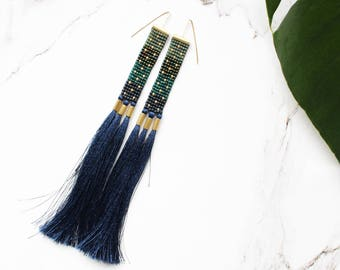Navy blue beaded earrings, extra long earrings, long fringe earrings, navy blue long earrings, brass earrings, long seed bead earrings