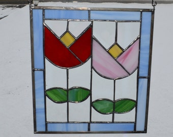 Handmade Stained Glass Abstract Geometric Tulip Flower Panel