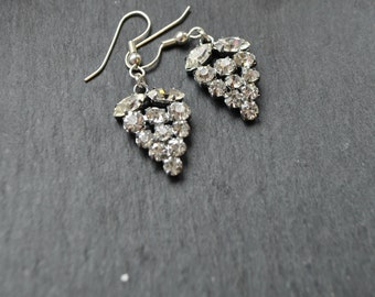 Vintage diamante bridal earrings 1950's rhinestone diamonte upcycled
