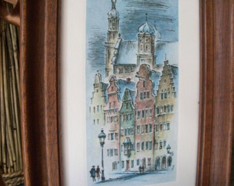 Vintage European City Watercolor Drawing Framed