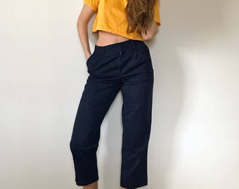 Vintage High Waisted Navy Blue Chinos